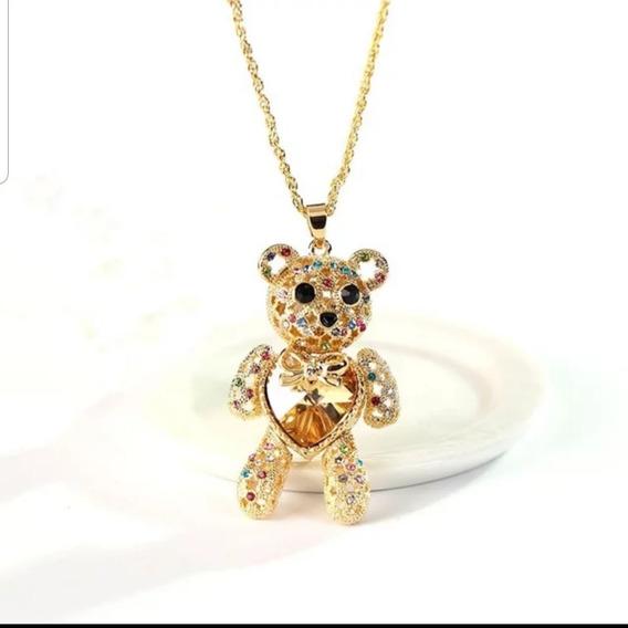 Collar Osito Chapa De Oro 18k