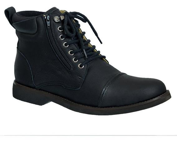 Coturno Masculino Gel Anatômico Em Couro Preto Graxo 8616 Doctor Shoes