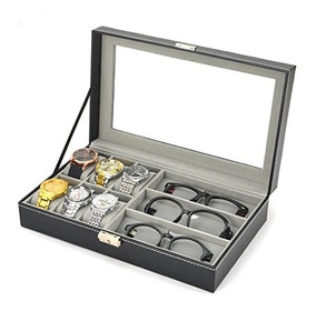 Caixa Estojo Porta 6 Relógios 3 Oculos Couro Vidro Preto