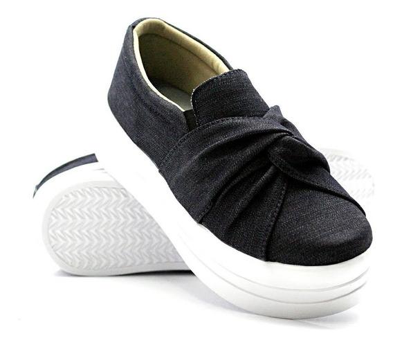 Tênis Jeans Sola Alta(modinha) Slip On,casual