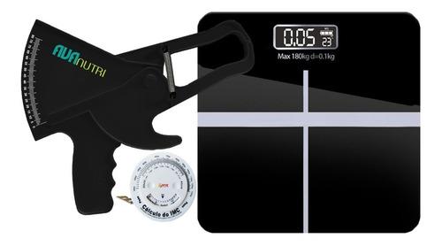 Adipômetro Plicômetro Clínico + Balança Digital + Trena Imc