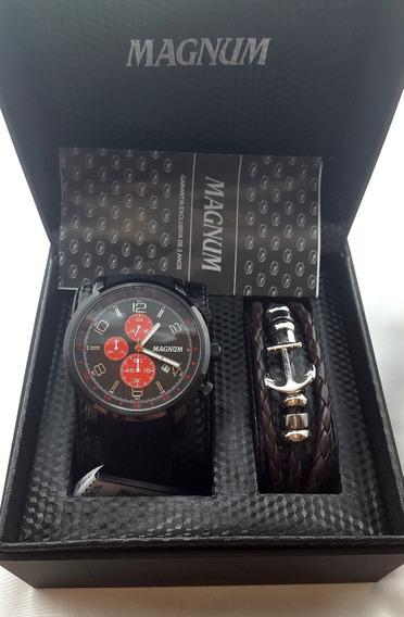 Relógio Magnum Masculino Kit Com Pulseira Ma34334z