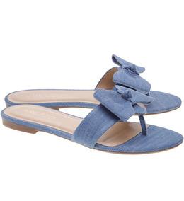 Sandália Tipo Rasteira Com Laço Em Tecido Jeans Drifee