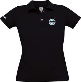 98def4d46a Blusa Feminina Do Grêmio Polo Baby Look Cor Preta Gola Polo