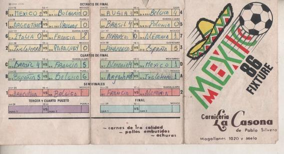 Antiguo Fixture Del Mundial De ** Mexico 86 ** Usado