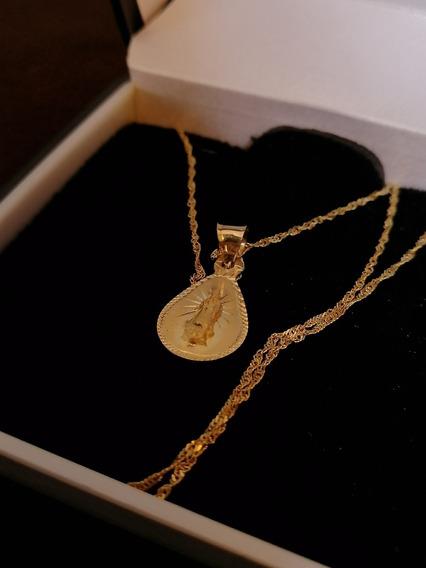 Medalla De Oro 10k Con Cadena Oro