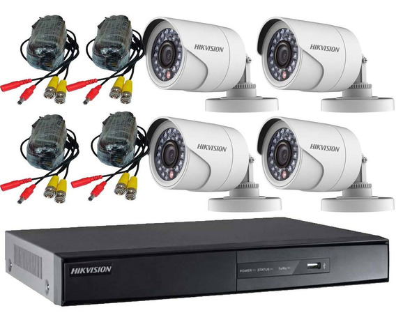 Kit Seguridad Hikvision Dvr 8ch + 4 Camara Turbo Hd Exterior