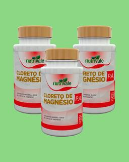 Kit 03 Cloreto De Magnesio P.a. Nutrivale 60 Cáp 500mg Cada