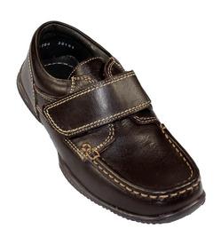Zapato Escolar Colegial Mocasin Coqueta Niño Cafe Piel 36103
