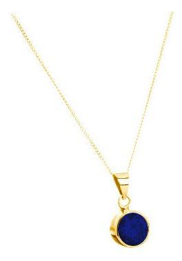 Bello Collar Azul Zafiro Creado Todo En Oro Laminado 14k
