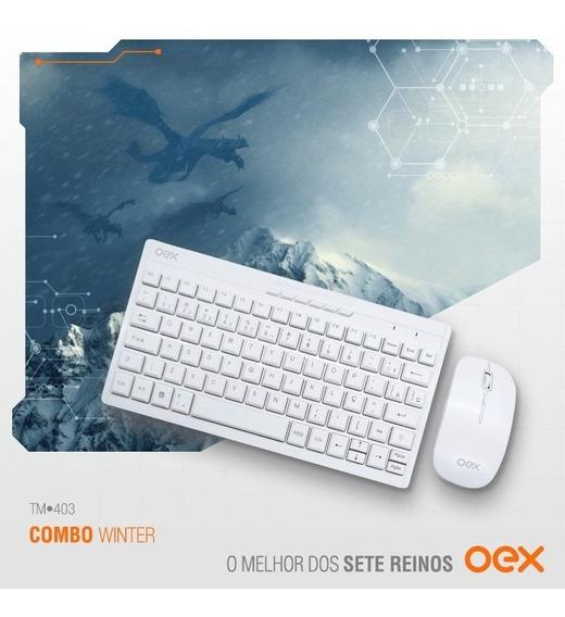 Combo Winter Teclado E Mouse Sem Fio Branco Tm403