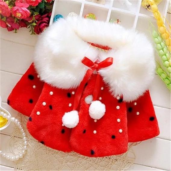 Casaquinho De Peles Inverno Frio Luxo Bebê Festa Tam 12/18 Meses Lindissimo E Forrado Vermelho E Branco Frete Grátis
