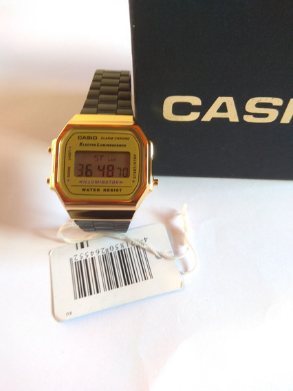 Elógio Casio Original Moda Vintage Dourado E Preto Fundo