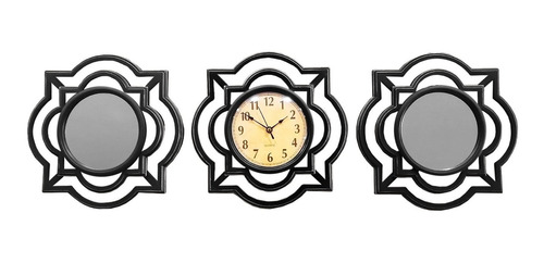 Imagen 1 de 5 de Reloj Pared + 2 Espejo Mural Diseño Plateado 25cm