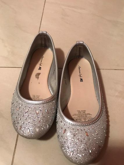 Zapatos Zapatillas Niña Plateados American Eagle Nro 33