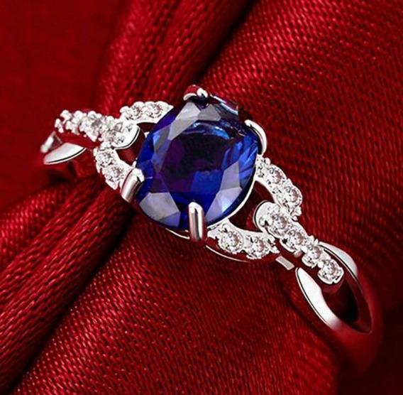 Anillo Plata Zafiro Azul 5, 6, 7 Gemas Envío Gratis Dhl