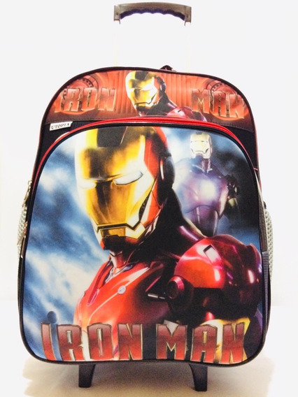 Mochila Escolar De Rodinhas Infantil Iron Man Utopia 44 Cm