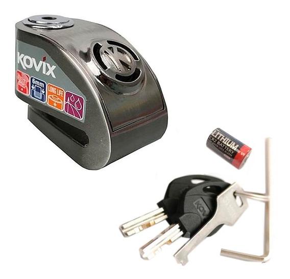 Trava Disco Freio Segurança Moto Com Alarme Kovix Kd6 Polida