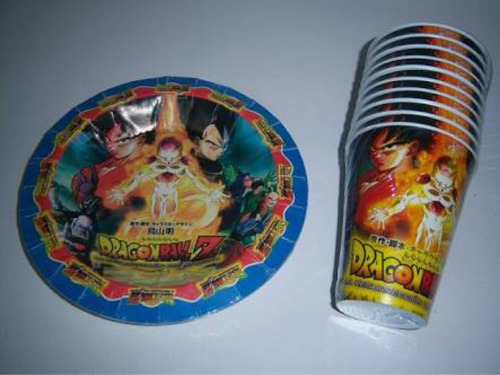 Imagen 1 de 6 de Platos Vasos Caja Bolo Fiesta Dragon Ball Goku