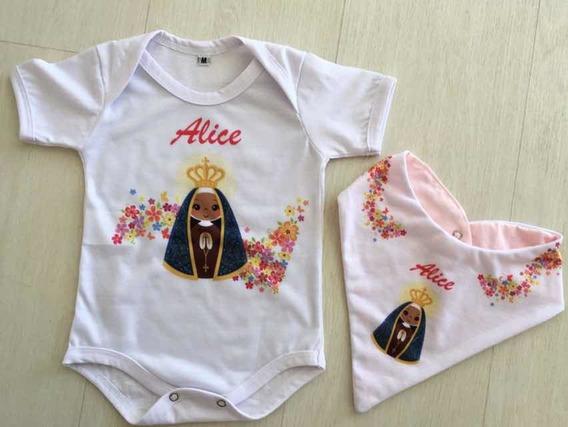 Body Bebê Nossa Senhora Aparecida Baby Com Bandana