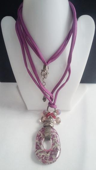 Collar+pulsera+aretes -piedra Morada Gliter-