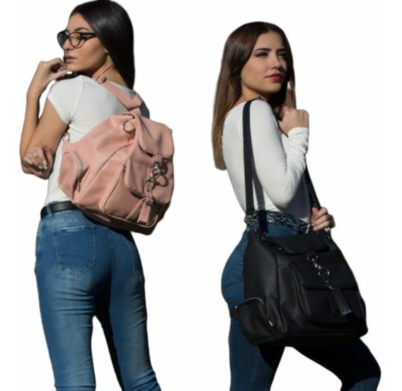 Cartera Mochila Mujer Grande Doble Función Morral 100 % Cuero Pu Premium