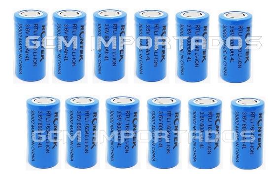 12 Baterias Pilha 16340 Rontek Recarregável 3.6v Cr123a
