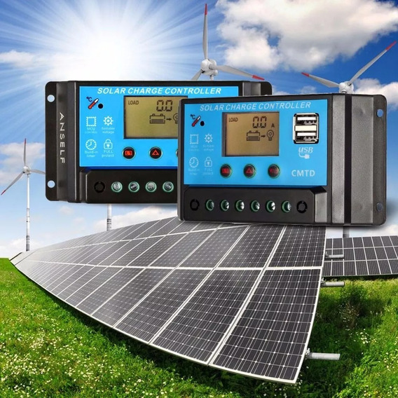 Controlador De Carga Energia Solar Pwm 10a C/ Amperimetro