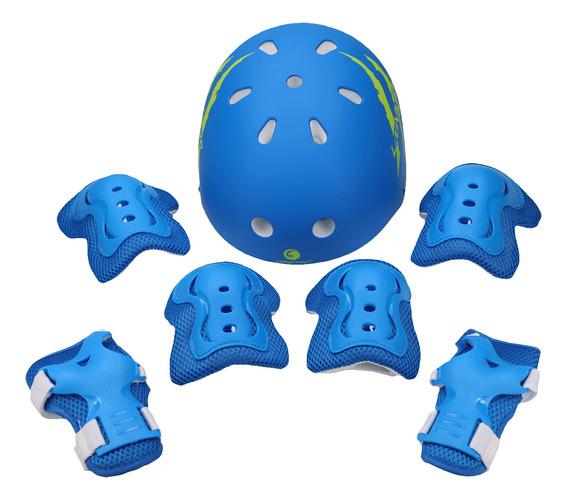 Set De Protecciones Lionix Pro Ciclismo Niño Azul