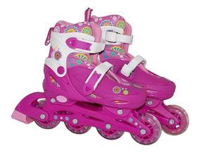 Patins Infantil Roller Feminino Capacete Acessórios 36-39