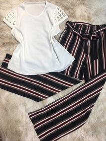 Conjunto Blusa De Crepe + Calça Pantalona Feminina Top