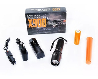Lanterna Tática Militar X900 Recarregável C/ Zoom Completa