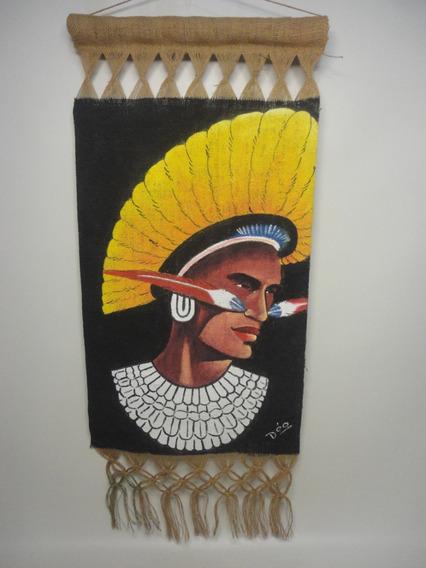 Pintura Em Tecido De Sisal Indio Brasileiro Tipo Tapeçaria