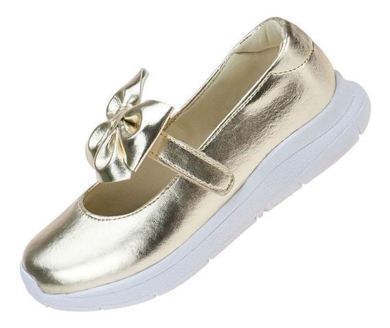 Tênis Infantil Feminino Sapatilha Dourado Sapato Moda Casual