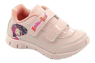 Calçado Infantil Pé Com Pé Tenis Rosa Masha E Urso 20 Ao 27