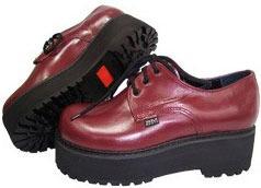 Sapato Solado Alto Cor Cereja Em Couro Ref150