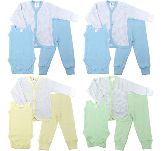 Roupa Bebê Prematuro Kit 4 Conjuntos Pagão Poá 12 Peças