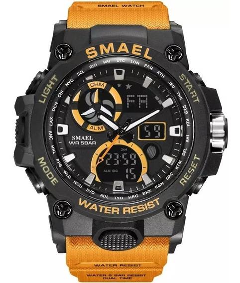 Relógio Masculino Smael 8011 Esportivo Militar Laranja