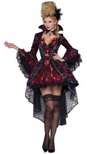 Disfraz Mujer Vampiresa Traje Lujo Vampiro Halloween Talla L