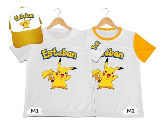 Camiseta Mas Gorra Niño Pokemon Personalizada Algodon
