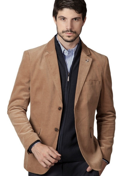 Saco Slim Fit Corderoy Fijo Devré 02d68 Marrón Hot Sale