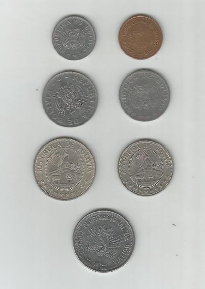 Lote De 7 Monedas De Bolivia Distintas ¡ Oferta !