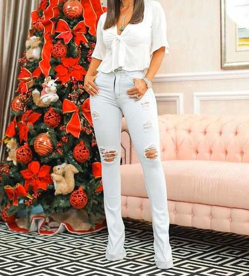 Calça Jeans Cintura Alta Zíper Hot Pants Lycra Blogueira