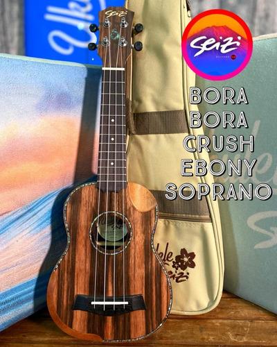 Ukulele Seizi Bora Bora Crush Soprano Acústico Ebony Com Bag