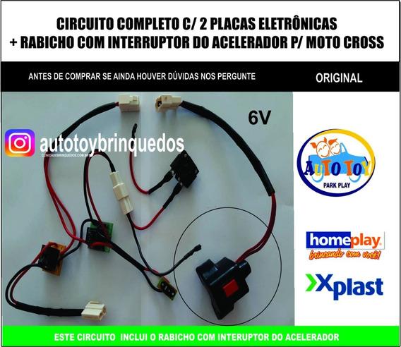 Moto Cross 6v Homeplay-circuito Eletrônico Placas+acelerador
