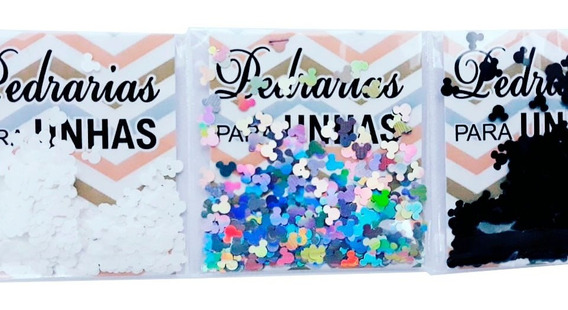 Glitter Para Esmalte Decoração Mickey + Brinde Strass Unhas