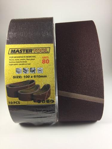 Banda De Lija 4x24 Mastertool Grano 80 Paquete De 10 Unid.
