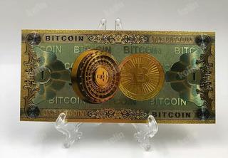 Nota Moeda Bitcoin Dinheiro Alto Relevo Mineração 2 Notas