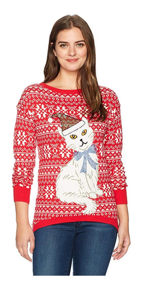 Suéter Feo Navidad Christmas Ugly Sweater Mujer Gato L