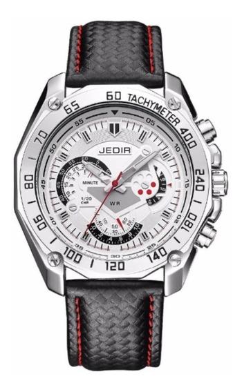 Relógio Masculino Elegante Jedir 5308 Original Couro